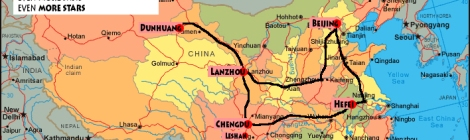 map of our China train trip