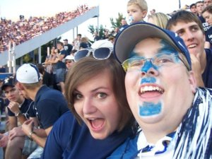 Cheering on the BYU Cougars with friends