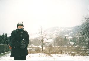 Me in the snow while working in the hills of Budapest