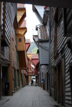 crooked buildings built hundreds of years ago in Bergen, Norway