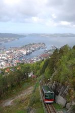 looking down on Bergen, Norway from the top of the Floibanen