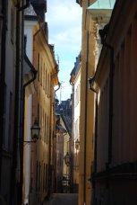 narrow winding street in Stockholm