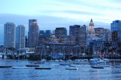 Boston at dusk from harbor