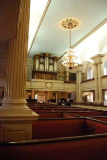 inside King's Chapel where patriots would hold meetings