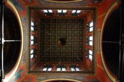 transept of Trinity Church with beautiful murals and amazing coffered ceiling