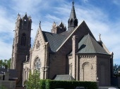 the back of The Cathedral of the Madeleine in Salt Lake City