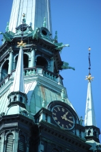 detail of a fantastic church steeple in Stockholm