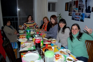 Foreign teachers from Argentina, France, Russia, Japan and USA enjoying Thanksgiving dinner at my apartment