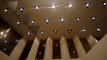 lights and windows in the main lobby