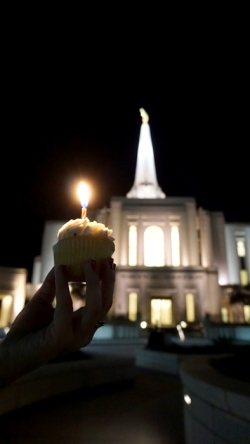 Gilbert Arizona Temple with cupcake